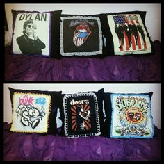 My sister made me these DIY pillows out of band tshirts :) you can order them from her via email: alexxy29@yahoo.com