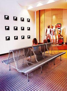 Catalano bench at Bershka shop, Barcelona (Spain) -Bd Barcelona Design-