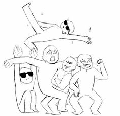 The fuck are you doing Fred (have fun figuring out which is Fred) (Draw the Squad) Draw The Squad, Funny Drawings, Art Drawings Sketches, Draw Chibi, Memes Arte, Funny Poses, Drawing Templates, Drawings Of Friends, Poses References