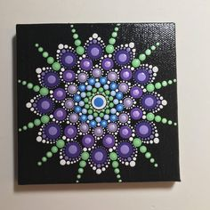 Hand Painted Mandala on Canvas, Meditation Mandala, Dot Wall Art, Healing, Calming, #616 by MafaStones on Etsy