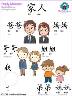 Family Members in Chinese – Teach Kids Mandarin with these Free Lessons - Bilingual Kidspot Family Members in Chinese: Mandarin Lessons for Kids Mandarin Lessons, Learn Mandarin, Learn Chinese Characters, Learn Chinese Alphabet, Spanish Alphabet, Chinese Flashcards, Chinese Lessons, French Lessons, Spanish Lessons