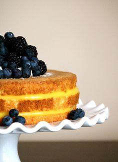 Lemon Chiffon Cake with Fresh Berries