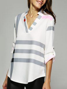Prezzi e Sconti: V #neck color block blouse ad Euro 11.36 in #Yoshop #Fashion