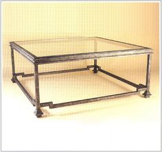 """10026  IRON TABLE SHOWN WITH OPTIONAL INSET GLASS TOP FINISH SHOWN: PEWTER BASE DIMENSIONS SHOWN W 42"""" L 42"""" HT 17"""""""