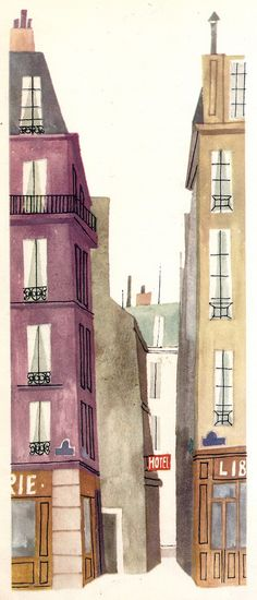 "Rue du Chat qui Pêche | Flickr - Photo Sharing! Illustration by Miroslav Sasek from the book, ""This is Paris"", ""Voici Paris"""