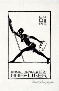 Artist: HAEFLIGER, Paul   Title: Bookplate: Annie Bangerter   Date: 1931-33   Technique: woodcut, printed in black ink, from one block