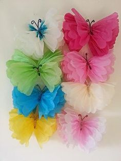 Party wedding venue hanging decorations tissue paper pompoms 6 butterflys tissue paper pom poms http://www.amazon.co.uk/dp/B00IW65220/ref=cm_sw_r_pi_dp_-fXAvb0VZCECE