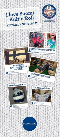 Congratulations! I love Suomi - Knit'n'Roll -winners! Thank's to K-citymarket & Dudesons for supporting the creative compettion.