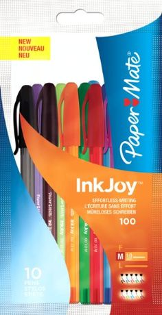 Paper Mate Inkjoy 100 Capped Ball Pen Medium Assorted Fun Colours - Bag of 10 PaperMate http://www.amazon.co.uk/dp/B006O887KC/ref=cm_sw_r_pi_dp_4-7lwb13MX67K