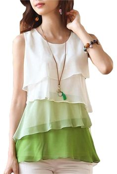 2017 New Multi-Colors Blouse Shirt Spring/Summer Style Flounce Tiered Tops Round Neck Sleeveless Chiffon Shirt Blusas Femininas Tiered Tops, Layered Fashion, Spring Shirts, Chiffon Shirt, Sleeveless Blouse, Chiffon Tops, Sheer Shirt, Chiffon Ruffle, Ruffles