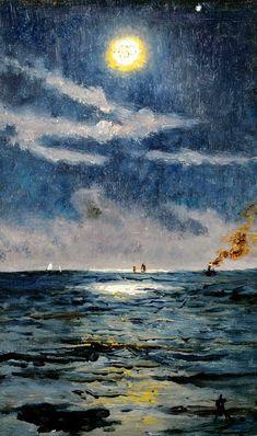 Alfred Stevens (Belgian, 1823 - - A Calm Moonlit Marine Scene, 1894 Arte Van Gogh, Van Gogh Art, Alfred Stevens, Aesthetic Painting, Aesthetic Art, Illustration Art, Illustrations, Classical Art, Renaissance Art