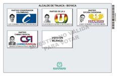 Tarjetón de elección para Alcalde de Tinjacá