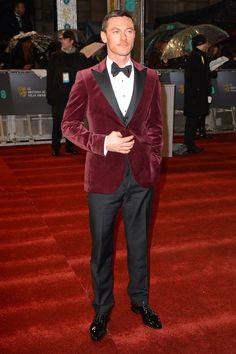 a merlot velvet blazer - Luke Evans.