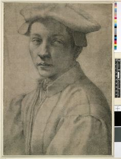 Michelangelo - Portrait of Andrea Quaratesi, 1530 Black chalk, on grey prepared paper, in some places rubbed away and here and there retouched.
