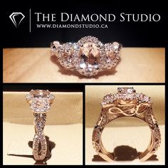 The centre features a beautiful oval morganite gemstone. The morganite sits in…
