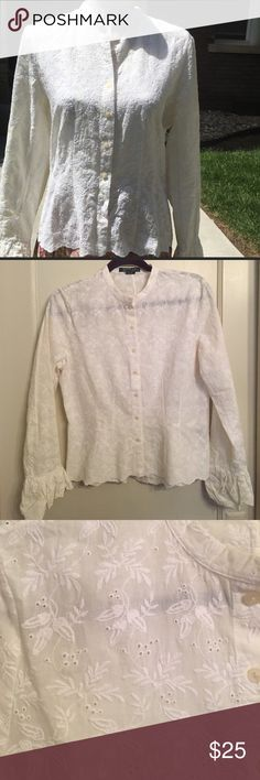 Ralph Lauren white eyelet button down top So pretty! This is a beautiful top that would look great with jeans and sandals in the summer or skinny jeans and boots in the fall. I personally love this top. My particular build is just not button down friendly, otherwise I would keep this in my own closet. Lauren Ralph Lauren Tops Button Down Shirts
