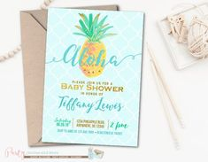 Blue and Gold Aloha Pineapple Baby Shower Invitation | Party Invites and More