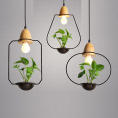 Geometrical Pendant Lights with Planter   Modern Lighting   Natural Wood Lights   Pendant Lighting