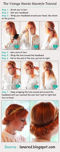 The Vintage Hairdo Hairstyle Tutorial  -headband version of the Gibson hair?