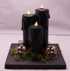 VERY COOL! AND battery operated! Handmade Battery Operated Tea Light Spooky Candle Centerpiece Halloween Prop SALE