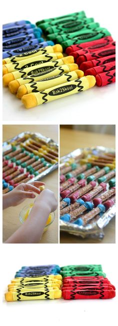 These edible crayons are pretzels dipped in melted chocolate. Great for back to school! the-girl-who-ate-everything.com