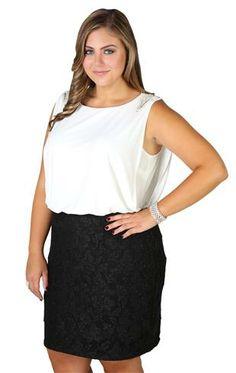 Deb Shops plus size, two tone glitter lace blouson dress with shoulder accents  $59.90