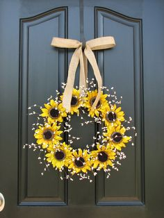 Best 12 Sunflower Wreaths – Berry Wreath – Fall Decor – Front Door Originals – Burlap Bows – Country Chic This simple yet beautiful bit of sunshine would look lovely on any front door for late summer early fall! This wreath measures approx. 16 in diameter Wreath Crafts, Diy Wreath, Wreath Burlap, Tulle Wreath, Grapevine Wreath, Fall Wreaths, Door Wreaths, Country Chic Decor, Sunflower Wreaths