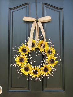 Sunflower Wreaths  Berry Wreath  Fall Decor  by twoinspireyou, $65.00