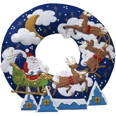 """Over The Rooftop Wreath Felt Applique Kit-15"""" Round"""