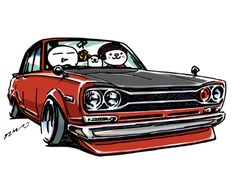 "car illustration ""crazy car art"" jdm japanese old school "" HAKOSUKA "" original characters ""mame mame rock"" / © ozizo ""Crazy Car Art"" Line stickers LINE STORE http://line.me/S/shop/sticker/author/92016"