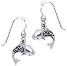 Silver Shark Earrings
