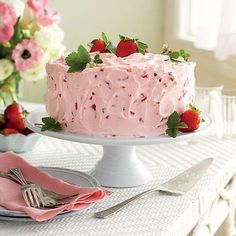 strawberry lemonade layer cake - I would change the frosting to make it buttercream based