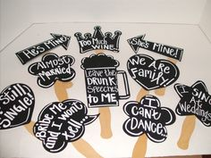 Chalkboard Photo Booth  Photo Props - WITH Phrases Written - Wedding Photo Props - Set of 10. $32.95, via Etsy.