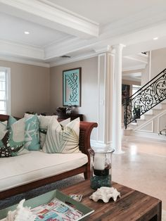 Hawaii living. Love these pillows and how inviting this looks. Beautiful home too!