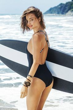 Effortless: Miranda Kerr has revealed her natural beach babe hairstyle in the Bonds swimwear ads was actually caused by a crashing wave