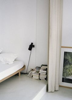 Low Bed Frame, small wall-mounted light