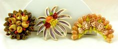 Vintage Hand Made Brooch from Sea Shells Lot of 3  c1940-50s