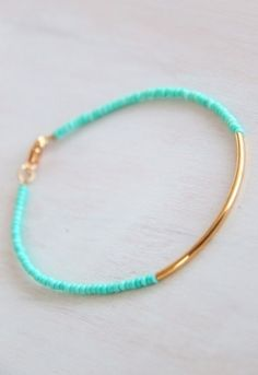 Super simple bracelet, with a pop of color, that adds to any outfit.