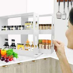 Kitchen Spice Racks, Diy Kitchen Storage, Storage Cabinets, Storage Shelves, Food Storage, Spice Jars, Kitchen Cabinets, Spice Rack Organiser, Spice Organization