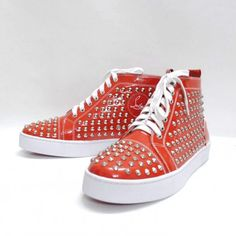 d95afcea5f8 Discount Christian Louboutin Louis Studded Hi Top Sneakers Red