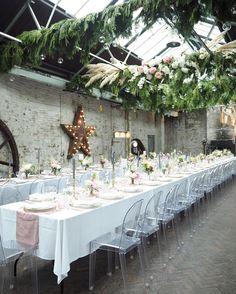 Elegant Warehouse Wedding London by London Bride | Venue Castle Gibson (MC Motors) | Flowers Bo Boutique | Stationery Judy Broad Calligraphy | Decor Hire Classic Crockery, Duchess & Butler, Helene Millot Hire