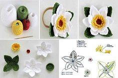15 diy crochet flower patterns 1001 crochet by – Artofit Diy Crochet Flowers, Diy Crafts Crochet, Crochet Leaves, Crochet Motifs, Knitted Flowers, Crochet Flower Patterns, Crochet Diagram, Lace Flowers, Easy Crochet