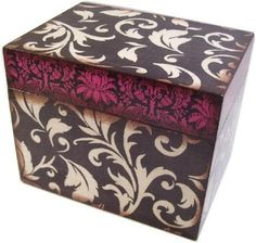 Recipe Box, Handmade Wooden, Decoupaged, Black, Cream Flourish, Pink Damask Box, Holds 4x6 Cards by Gifts and Talents