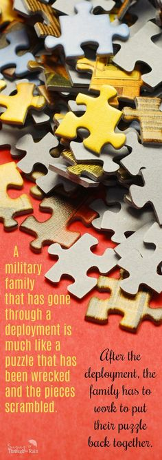 A military family that has gone through a deployment is much like a puzzle that has been wrecked and the pieces scrambled. After the deployment, the family has to work to put their puzzle back together. Here are some tips to help you through the reintegra Military Marriage, Military Spouse, Military Families, Military Deployment, Singing Tips, Singing Lessons, Best Blogs, How To Find Out, 3d Printing