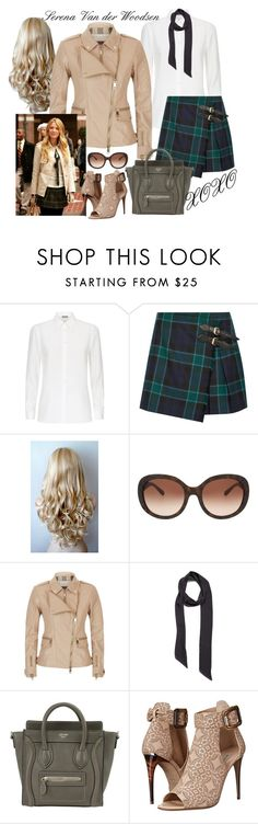 """""""{ halloween costume: serena van der woodsen }"""" by callingmybluff ❤ liked on Polyvore featuring Burberry, Capelli New York, Halogen and CÉLINE"""