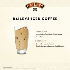 I always thought of Bailey's as a winter drink. This changes things. Now we can enjoy our Bailey's as a summer beach drink too! Irish Coffee, Baileys Iced Coffee, Baileys Drinks, Baileys Recipes, Liquor Drinks, Cocktail Drinks, Coffee Drinks, Alcoholic Drinks, Vanilla Vodka Drinks
