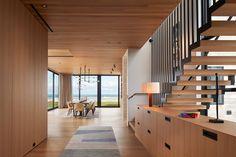 St Joseph Beach House by Wheeler Kearns Architects « HomeAdore Michigan Lake House, Basement Floor Plans, Wood Cladding, Cedar Shingles, Interior Architecture, Interior Design, Interior Stairs, Floor Layout, Modern Staircase