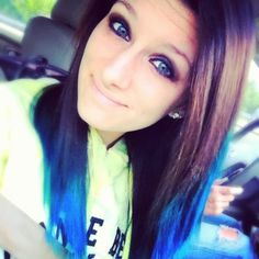 Dark Brown Hair With Blue Tips Dark hair and blue tips - Hairstyles Brown Hair Dyed Blue, Hair Tips Dyed Blue, Short Dyed Hair, Grey Hair Dye, Dyed Hair Ombre, Dyed Hair Pastel, Dyed Blonde Hair, Hair Trim, Different Hair Colors