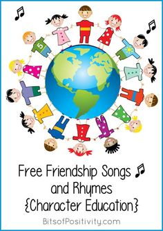 Lots of free friendship songs in YouTube videos plus songs and rhymes with lyrics; great resources focusing on the core Olympic value of friendship