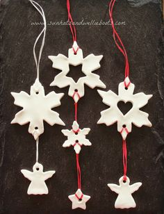 "Most up-to-date Photographs white clay ornaments Suggestions Christmas Mobiles made with White Clay Dough Leuk om met ""brooddeeg"" te maken, bakken en schild Christmas Clay, Christmas Makes, Christmas Crafts For Kids, Christmas Activities, Christmas Projects, Holiday Crafts, Ceramic Christmas Decorations, Diy Christmas Ornaments, Xmas Decorations"